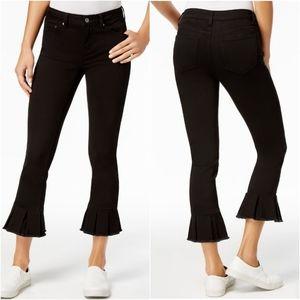 Earl  Black Cropped Ruffled-hem Jeans Size 8